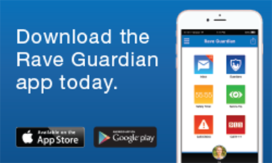 download Rave Guardian app from Apple Store or Google Play